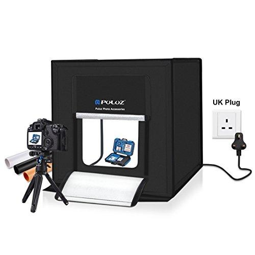 estudio fotográfico portátil, Puluz® - tienda de iluminación profesional con caja de luz LED y kit de iluminación - 60cm x 60cm x 60cm 60W (5500K) + fondos de 3 colores (negro, naranja y blanco)