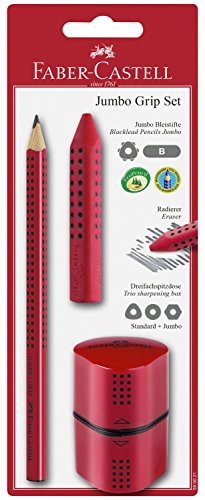 Faber-castell 580021–jumbo grip set, 3pezzi, colore: rosso