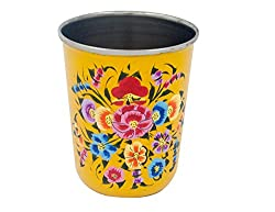 The Crazy Me Handpainted Multicolor Flower Pattern Yellow Tumbler (Small)