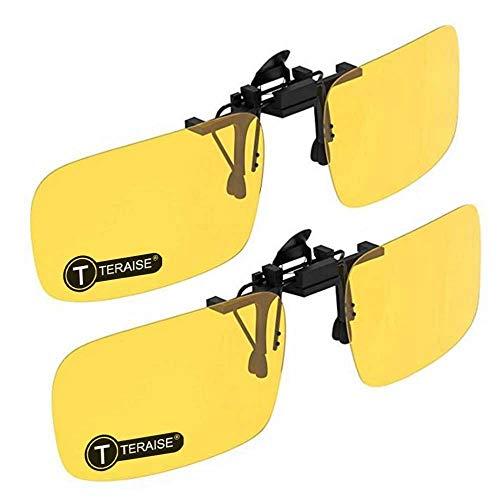 TERAISE 2-Pack Nachtsichtclip für polarisierte Sonnenbrillen Herren/Damen UV400 Klappbarer, bequemer und sicherer Sitz über Korrekturbrillen Ideal für Autofahrer und Outdoor/Angeln(2Yellow)