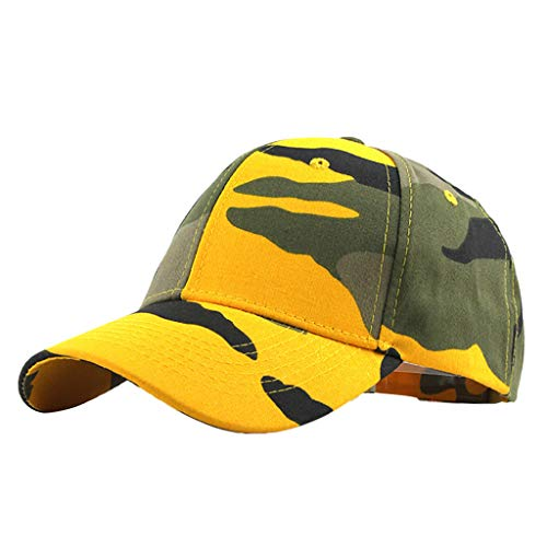 FRAUIT Damen/Herren Baseball Cap Outdoor Camouflage Baseballmütze für Baseballmützen Unisex Mütze, Kappe für Herren und Damen, Einfarbige Basecap, rundum geschlossen - Orange Camouflage Cap