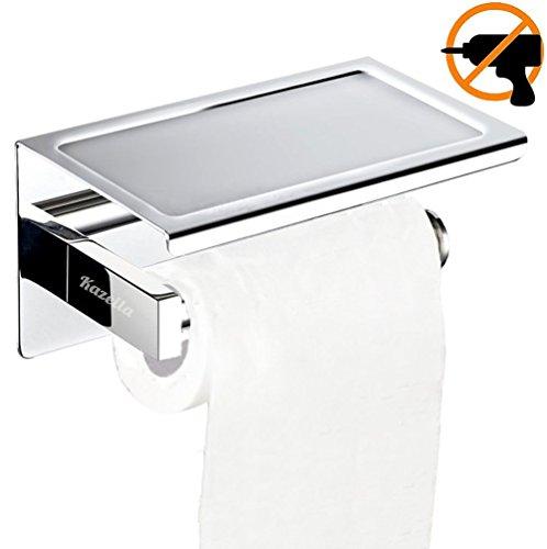 Kazeila Toilettenpapierhalter SUS304 Edelstahl Rostsicheres Badezimmer  Toilettenpapier Rollenhalter Mit Mobiler Telefon Aufbewahrungsfläche Wand  Montage, ...