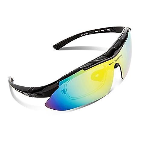 RIVBOS RB806 Multifunktions-Sportbrille Polarisierte Sonnenbrille für Skifahren Golf Laufen Radsport Superleichtes Rahmen Design für Herren und Damen Weiß & Schwarz