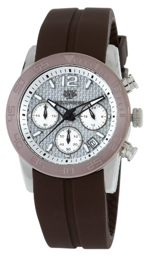 Wellington Ladies Quartz Watch with Silver Dial Analogue Display and Brown Silicone Strap WN503-612