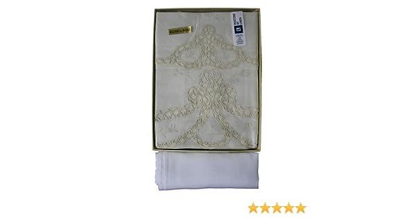 Coppia Asciugamano ospite in puro lino ricamo al chiacchierino a mano
