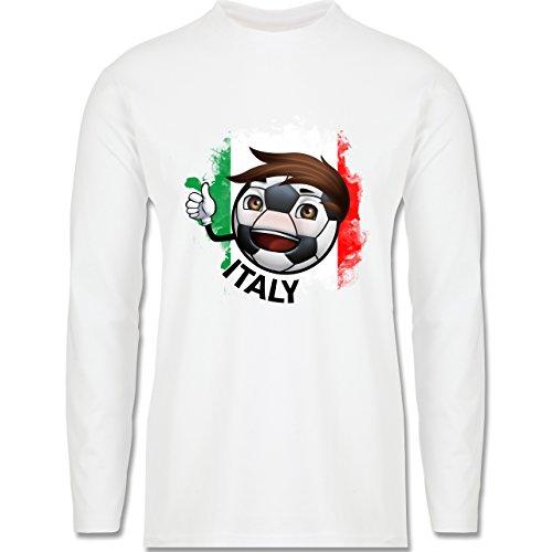 EM 2016 - Frankreich - Fußballjunge Italien - Longsleeve / langärmeliges T-Shirt für Herren Weiß