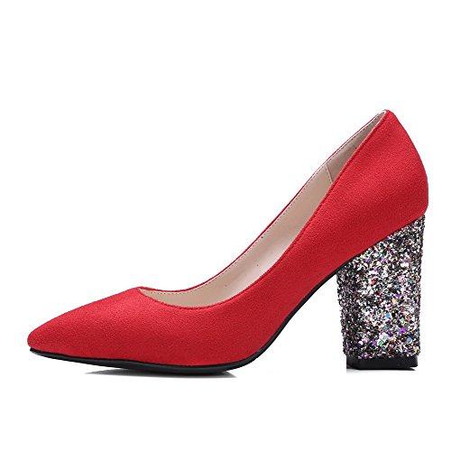 VogueZone009 Donna Tacco Alto Plastica Puro Tirare Scarpe A Punta Punta Chiusa Ballerine Rosso