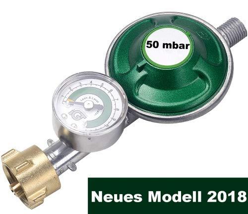 CAGO Gasregler 50 mbar mit Manometer Füllstandsanzeige Schlauchbruchsicherung Propangas Druckminderer Druckregler