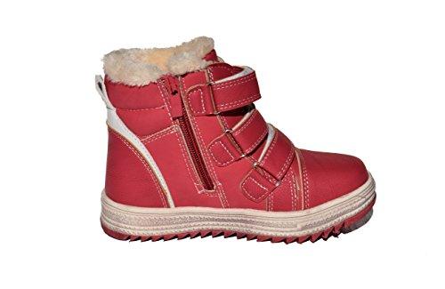 TMY 4596–2646 winterboots/b-bottes d'hiver pour enfant avec fermeture éclair et velcro couleur :  taille :  25–36 rouge Multicolore - Rouge