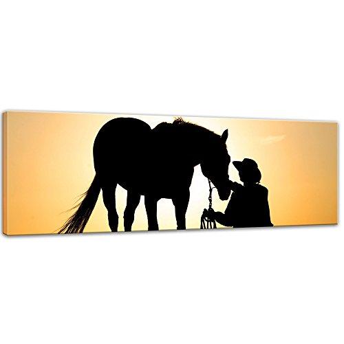 Kunstdruck - Pferd mit Cowboy - Bild auf Leinwand - 90 x 30 cm - Leinwandbilder - Bilder als Leinwanddruck - Tierwelten - Sonnenuntergang - Pferd und Reiter