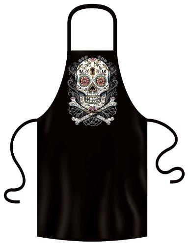 Verzierter Totenkopf auf Grill und Kochschürze! Dia de los Muertos! Floral skull Tolles Geschenk!