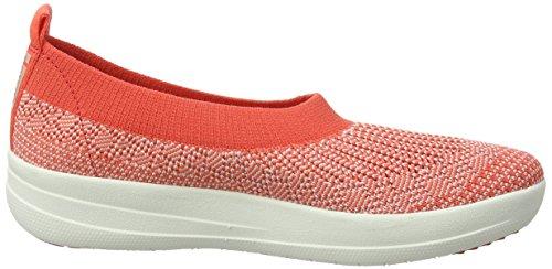 FitFlop Damen Uberknit Slip-On Ballerina Geschlossene Ballerinas, Schwarz, One Size Multicolour (Hot Coral/Neon Blush)