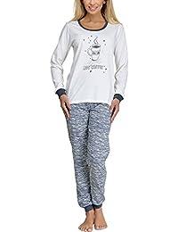 Merry Style Pijamas Conjunto Camisetas Mangas Largas y Pantalones Largos Ropa de Dormir de Cama Lencería