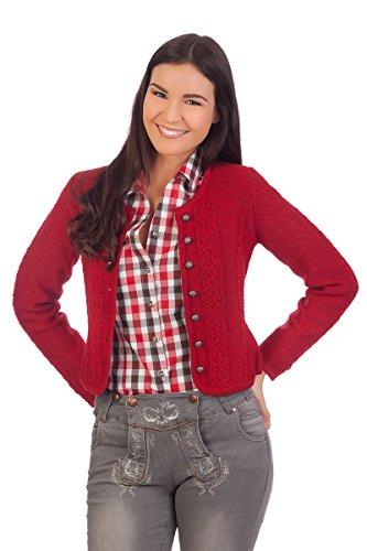 Damen Trachten Strickjacke - BONN - rot, natur, Größe XS