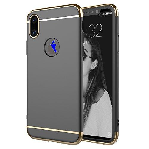 iPhone X Custodia, MOONMINI Electroplating Duro PC Frame 3 in 1 Hybrid Case Rubber Armor Antiurto Back Cover Non-slip Full Body Protettiva Custodia Shell per iPhone X Nero