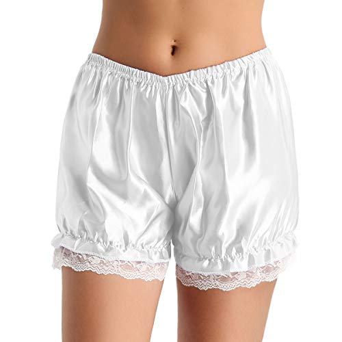 Bloomer Pumphose Shorts Frauen Leggings Sexy Spitze Rüschen Panties Hipster Sexy Pettipants Shorts Schlafhose Reizwäsche (One Size, Weiß) ()