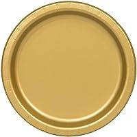 Unique Party 33252 - 23cm Gold Party Plates, Pack of 16