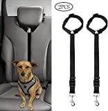 kuou 2Pcs Dog Seat Belt, Adjustable Dog Safety Harness Dog Safety Leash Leads for Travel Daily Use (Black)