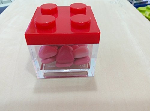 KLEINE SCHACHTEL BONBONIERE TYP LEGO QUADRATISCH PLEXIGLAS KORK KUNSTSTOFF ROT CM 5X5X5 PAKET 3 STÜCKE- OHNE KONFETTI (Lego Bilderrahmen)