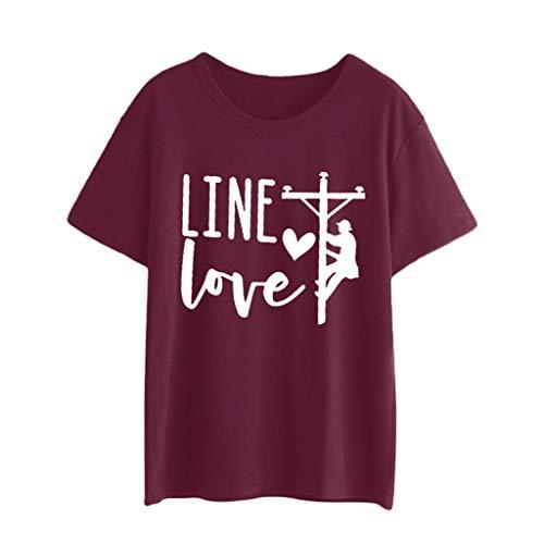 Liebespaar Tops,SANFASHION Herren Damen Casual Kurzarm Brief Print T-Shirt Bluse Paar Shirt Tops Valentinstag Fuer ihn/sie