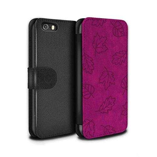 Stuff4 Coque/Etui/Housse Cuir PU Case/Cover pour Apple iPhone SE / Pourpre Design / Motif Feuille/Effet Textile Collection Rose