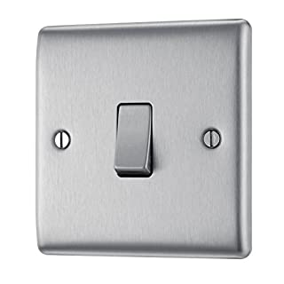 BG Electrical NBS12 10AX Single 2-Way Metal Brushed/ Stainless Steel Light Switch