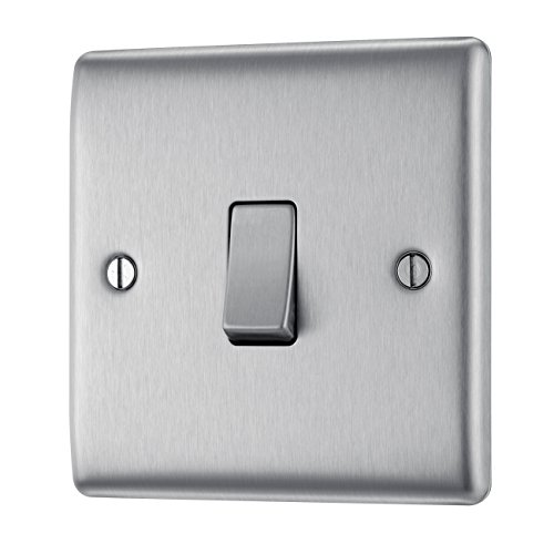 BG Electrical NBS12 10AX Single 2-Way Metal Brushed Steel Light Switch