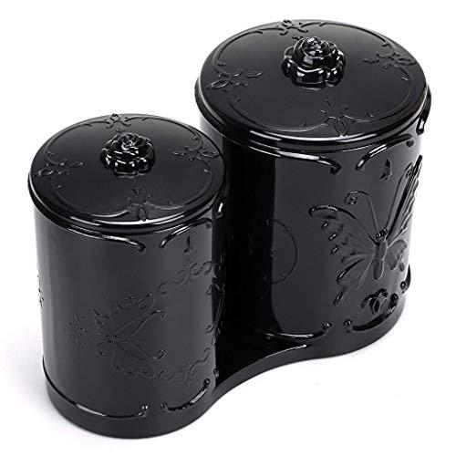 Acryl-Makeup Cotton Pad Q-Tips Holder mit Cover 2 Fach Cotton Ball Swab Stick Organizer Storage Case Apothecary Jar Container für Makeup Pinsel, Makeup Sponges,Black (Badezimmer Storage Jars)