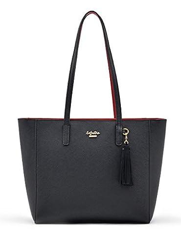 LA'FESTIN Fashion Tote Purse for Womens Girls Tassel Hand Bag Shoulder Handbags (Kelly Black)
