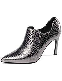 46f68f084ff ChixiaO Boca Profunda Zapatos de tacón Alto para Mujer Zapatos de Mujer de  Cuero Nuevo Acentuado