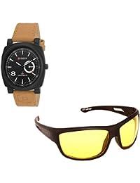 Magjons Fashion Black Analog Watch And Sunglassses Combo For Men And Women - B0735BV13P