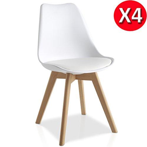 Pack 4 sillas Lucia Blanco con pata madera y asiento acolchado