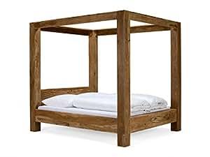 Ciel de lit en bois Lit 180x 200en palissandre avec finition teck