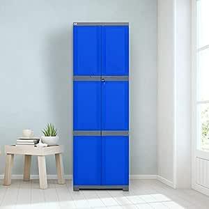 Nilkamal Freedom Mini Large (FML) Plastic Storage Cabinet (Deep Blue & Grey)