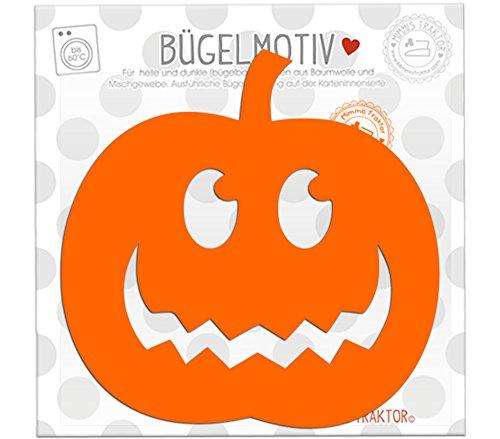 Mimmis Traktor® Bügelbild Gr. L Kürbis 13 cm x 13 cm (Kinder Kostüme Klebeband Halloween Für)