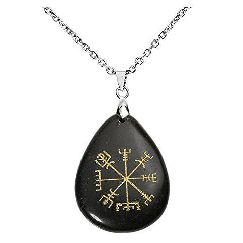 """QGEM Collier Pendentif Rune de Protection """"Vegvisir"""" Boussole Viking Nordique en Pierre Naturelle Forme Goutte d"""