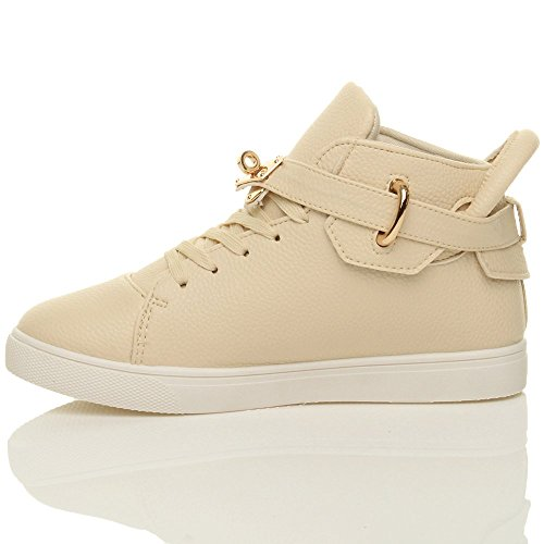 Femmes plat lacer sangle d'or chaussure le sport cheville baskets bottines pointure Beige