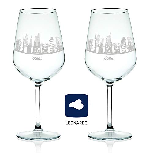 Leonardo Verre à vin avec gravure – Horizon Cologne en kit – Cadeau Pour exigeants & vin genießer – Souvenirs de souvenirs Ville mitbringsel – Cadeau d'anniversaire Cadeau de Noël