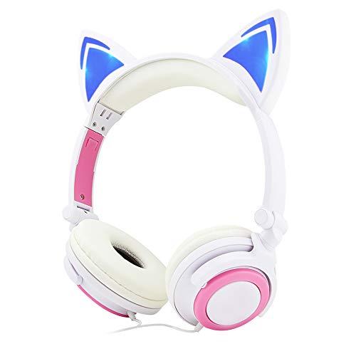 FIRSTEMORY Faltbare Kopfhörer mit kabelgebundenem Over-Ear-Kopfhörer mit leuchtendem Licht, Katzen-Kinder Headset für Kinder, Mädchen Geschenk weiß/rot