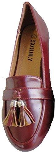 Chaussure Mocassin Talon plat Femme Vernis Pompon Glands Pierre-cedric ! Bordeaux