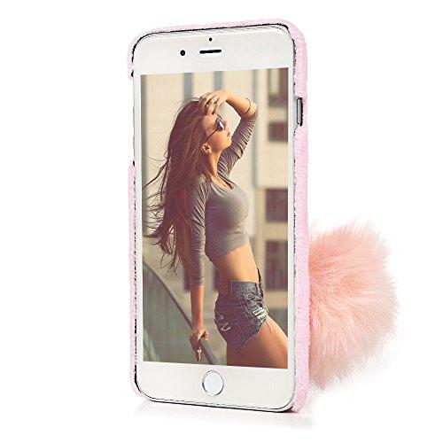 iPhone 7 Plus Cover Palla di capelli - YOKIRIN Kawaii Adorabile Case Ultra Sottile Flessibile Per iPhone 7 Plus/ 8 Plus - Rosa Rosa Chiaro
