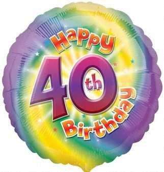 40. Geburtstag runder Folienballon HS40