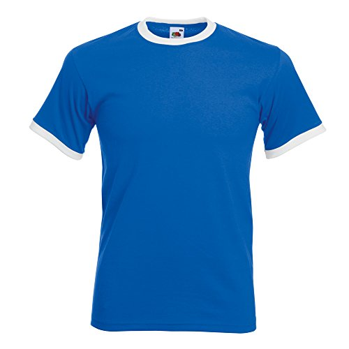 Ringer T-Shirt von Fruit of the Loom S M L XL XXL verschiedene Farben Blau