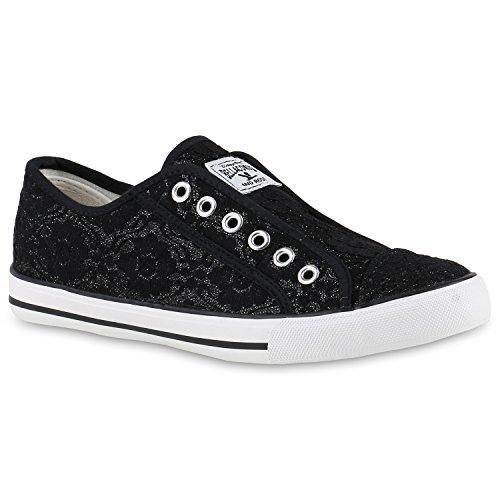 Damen Sneakers Flach Stoff Slip-Ons Flats Turn Trainers Sport Damen Slippers Sneaker Low Schuhe 139842 Schwarz Muster 38 | Flandell®