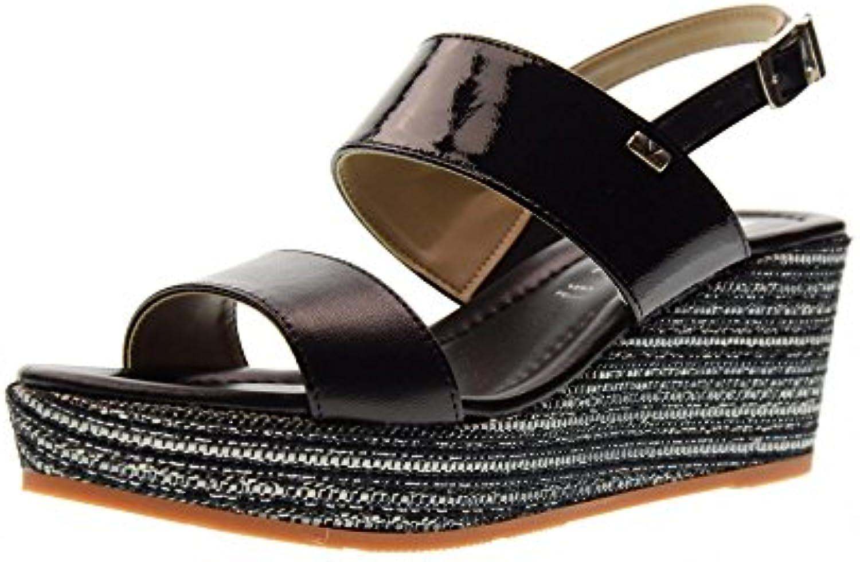 Negros Sandalias Valleverde Con C1fklj Zapatos Mujer De 32205 Cuña nwm0N8