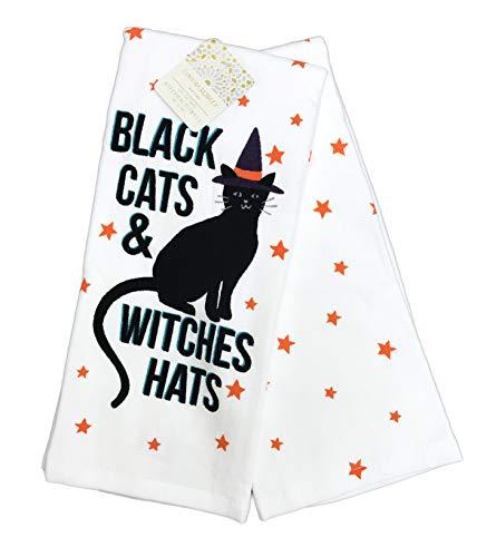 Küchenhandtuch-Set, Motiv Schwarze Katzen und Hexen, Niedliches Gruseliges Halloween, 2 Stück ()