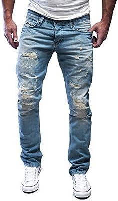MERISH Vaqueros para Hombre Straight-Fit Pantalones Ver destruido cosido y parcheado diseño moderno, Modell J1156