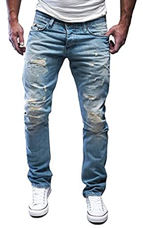 Merish Jeans Herren Destroyed Blue-Jeans Used Look Partial Patched J1156 Blau 32/32