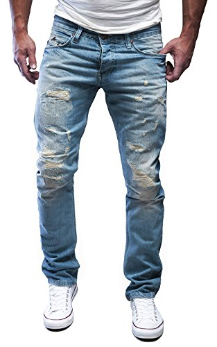 Merish Jeans Herren Destroyed Blue-Jeans Used Look Partial Patched