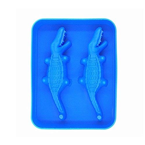 LIUYUNE,Krokodilform 3D Eisblock Hersteller Bar Party Silikon Platte Geleeform(color:DODGER BLUE)